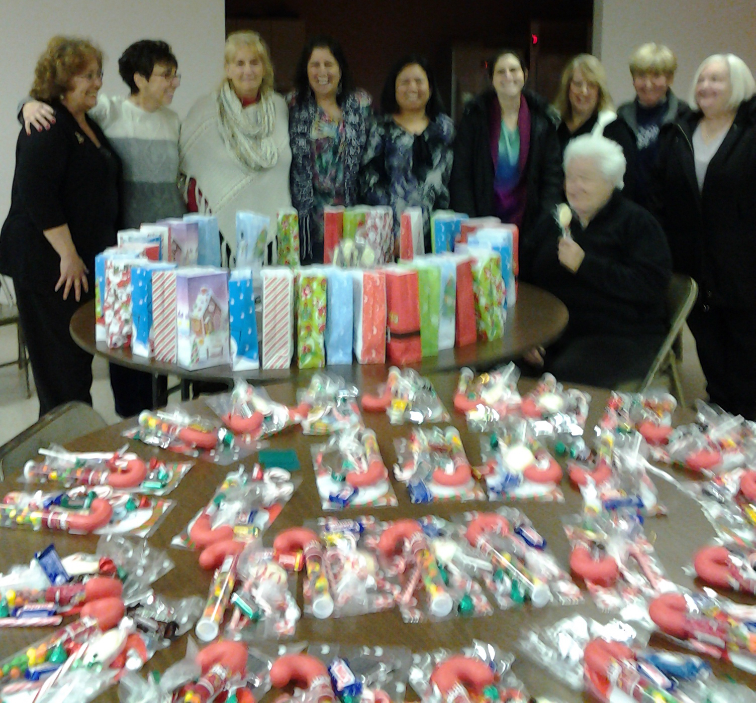 bags made by the womens auxiliary for outreach childrens knights of columbus party